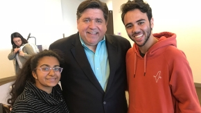 Pritzker connects with BenU Students