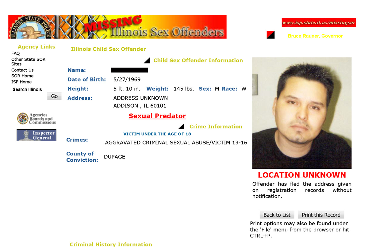 Illinois sex offender web site are not