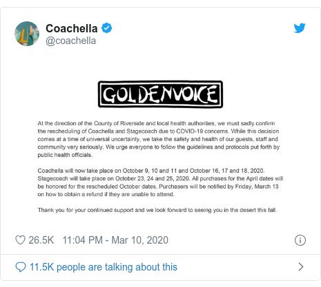 Coachella 2020 has officially been postponed