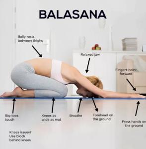 Balasana pose with descriptors